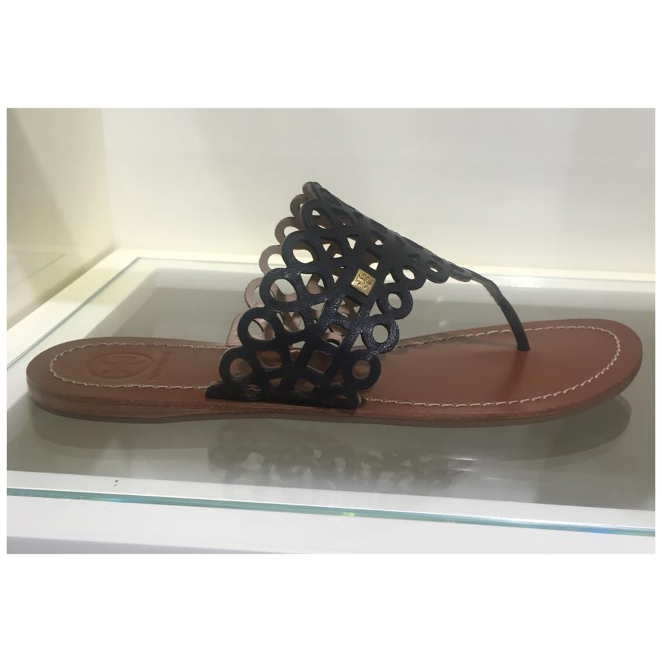 be93224ac316 Tory Burch Blue Davy Flat Thong Laser Cut Navy Leather Sandals Size ...