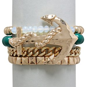 Other Nautical Anchor Stretchable Multilayer Gold and Green Bracelet