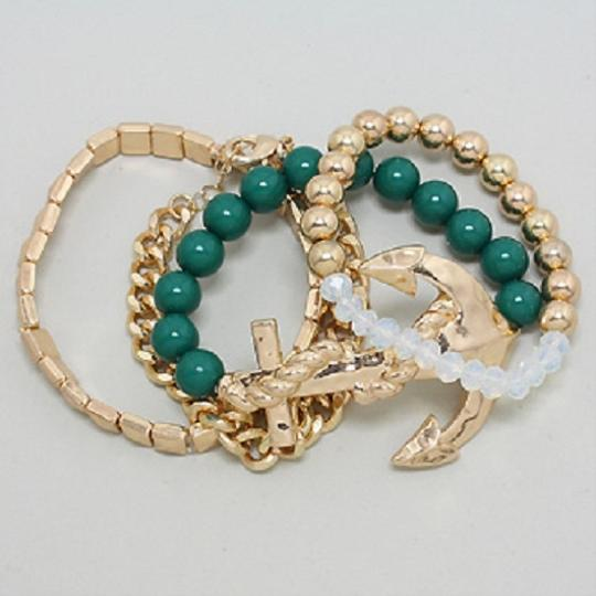 Other Nautical Anchor Stretchable Multilayer Gold and Green Bracelet Image 1