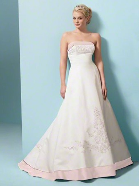 Item - White/Pink Satin 1797 Traditional Wedding Dress Size 14 (L)