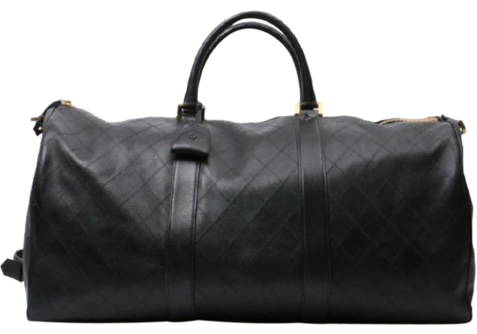 ed1505fbdf28 Chanel Duffle Vintage Quilt Boston Luggage Black Calfskin Weekend/Travel Bag