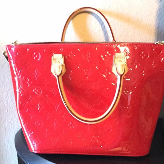 Louis Vuitton Satchel in red with gold hardware Image 7