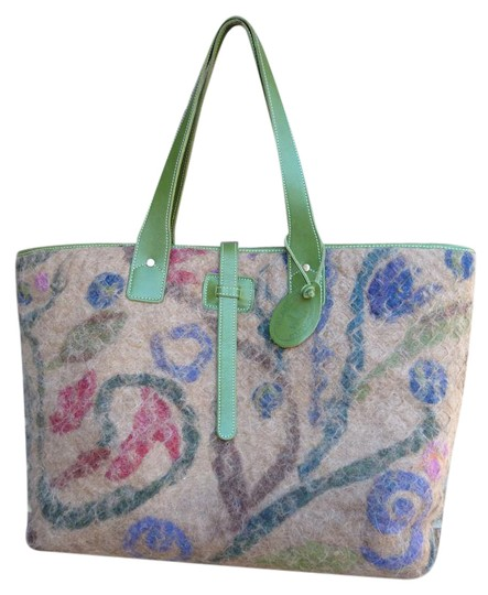 Preload https://item5.tradesy.com/images/one-of-a-kind-multi-with-green-backside-alpaca-and-leather-tote-21641954-0-1.jpg?width=440&height=440