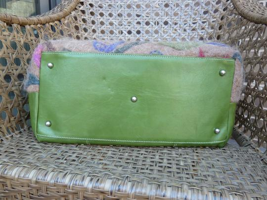 Alpaca Bag Works Hand-crafted Week-ender Travel Overnight Tote in Multi- with green backside