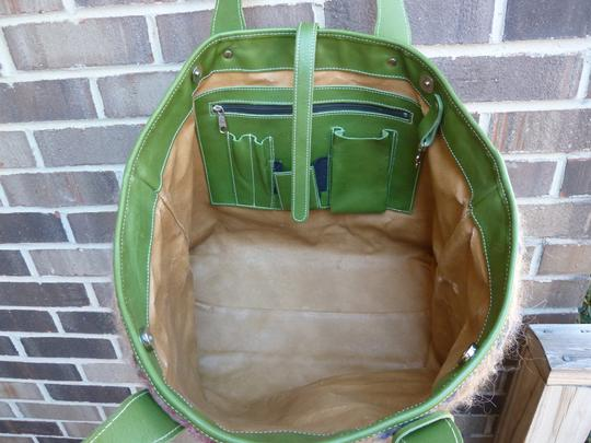 Alpaca Bag Works Hand-crafted Week-ender Travel Overnight Tote in Multi- with green backside Image 2
