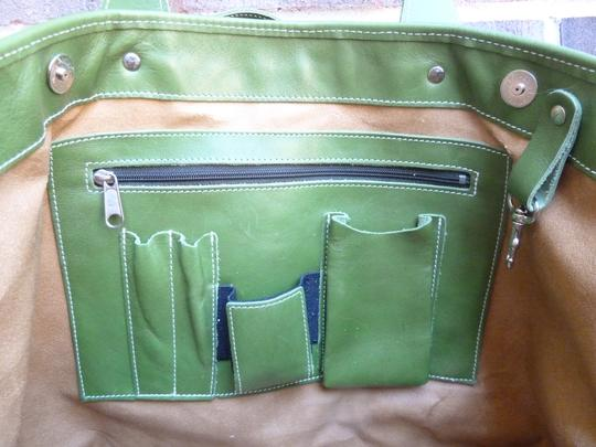 Alpaca Bag Works Hand-crafted Week-ender Travel Overnight Tote in Multi- with green backside Image 3