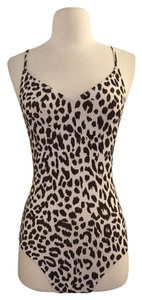 J.Crew J.CREW T-BACK ONE-PIECE SWIMSUIT IN LEOPARD PRINT SIZE 2 IVORY BROWN