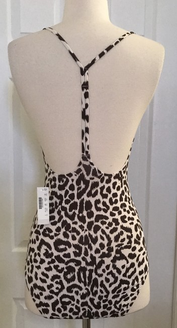 J.Crew J.CREW T-BACK ONE-PIECE SWIMSUIT IN LEOPARD PRINT SIZE 2 IVORY BROWN Image 1