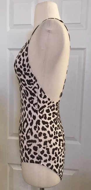 J.Crew J.CREW T-BACK ONE-PIECE SWIMSUIT IN LEOPARD PRINT SIZE 2 IVORY BROWN Image 2