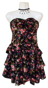 Poetry short dress black, green, pink, purple Strapless Ruffle Stretchy Floral on Tradesy