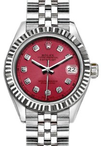 Rolex Ladies 26mm Rolex Datejust with Diamond Red Dial