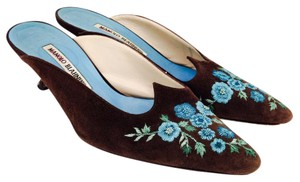 Manolo Blahnik Flower Embroidered Kitten Suede Heels Brown Mules