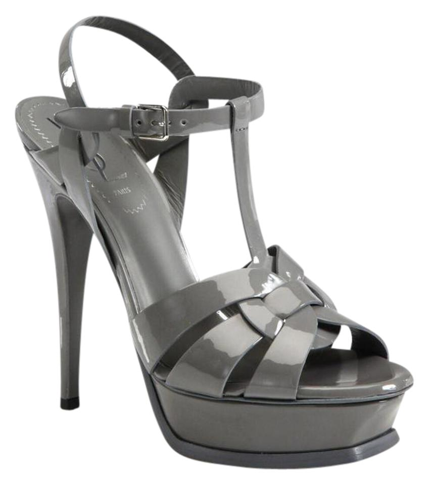 Saint Laurent Patent Gray Tribute Patent Laurent Leather Sandals Platforms dede40