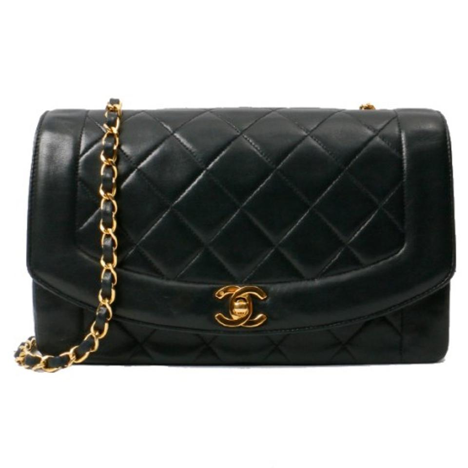 f7dd0d7a506f Chanel Diana Classic Flap Vintage Quilted Black Lambskin Leather ...
