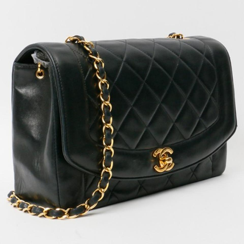 bbea230c758e Chanel Diana Classic Flap Vintage Quilted Black Lambskin Leather Shoulder  Bag