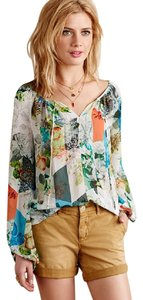 Anthropologie Catappa Peasant Silk By Top