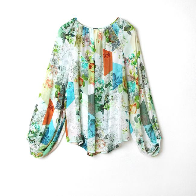 Anthropologie Catappa Peasant Silk By Top Image 4