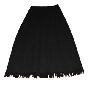 Dana Buchman Wool Pleated Maxi Skirt Black