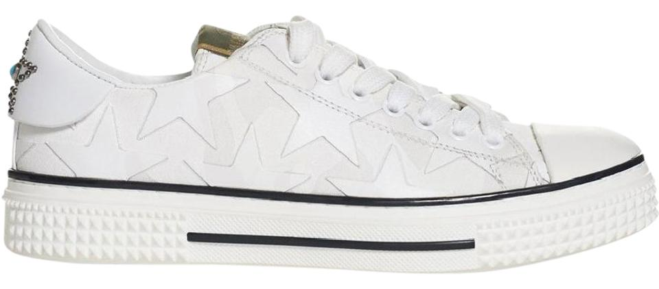 69c376d8f Valentino White Star Leather Canvas Low Top Trainers Sneakers Size ...