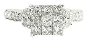 Other Cluster Princess Cut Engagement Ring- 14k White Gold