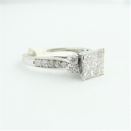 Other Cluster Princess Cut Engagement Ring- 14k White Gold Image 1
