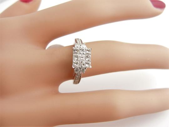 Other Cluster Princess Cut Engagement Ring- 14k White Gold Image 4