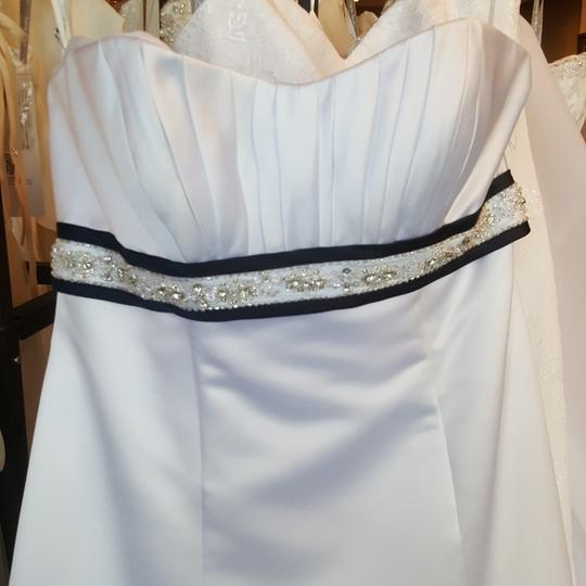 Alfred Angelo White/Navy Satin 2105 Traditional Wedding Dress Size 12 (L) Image 1