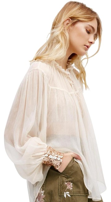 Petal Dream Off Hair Beauty Beauty Advertising Poster: Free People Petal Dream Cuff Blouse Size 8 (M)