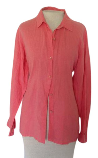 Preload https://img-static.tradesy.com/item/21642805/eileen-fisher-coral-irish-linen-button-down-top-size-petite-8-m-0-1-650-650.jpg