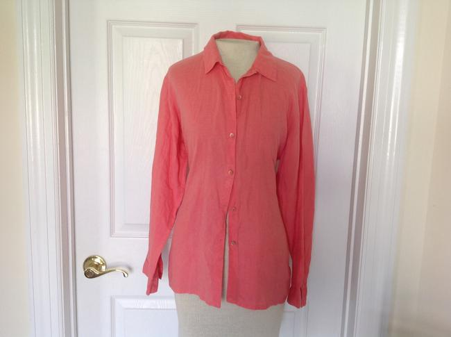 Eileen Fisher Button Down Shirt Coral Image 2