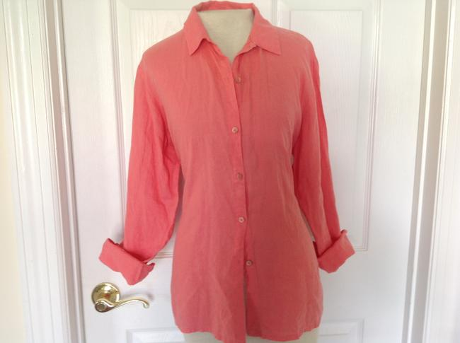 Eileen Fisher Button Down Shirt Coral Image 4