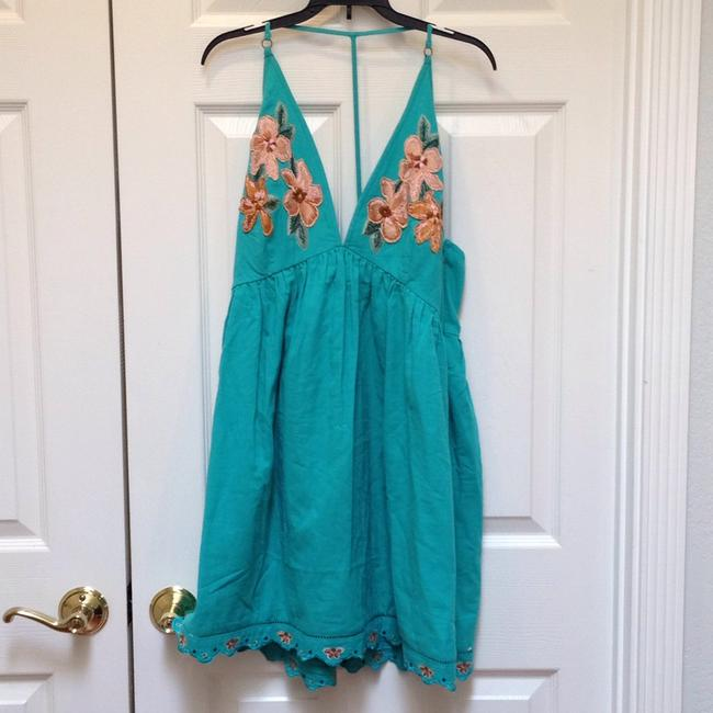 Free People short dress Caribbean green Cotton Halter V-neck Embroidered Scalloped on Tradesy Image 1