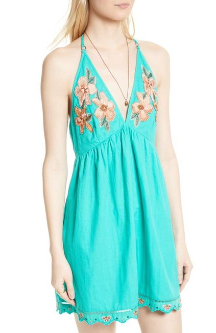 Free People short dress Caribbean green Cotton Halter V-neck Embroidered Scalloped on Tradesy Image 10