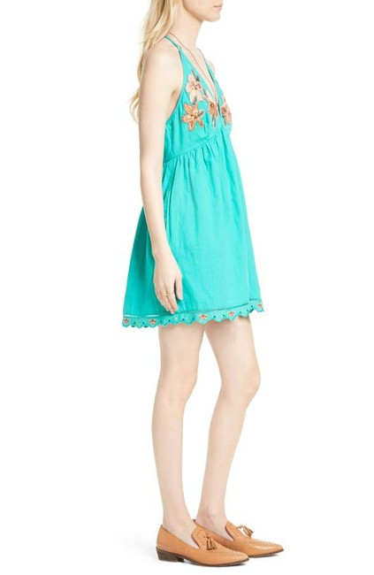 Free People short dress Caribbean green Cotton Halter V-neck Embroidered Scalloped on Tradesy Image 9