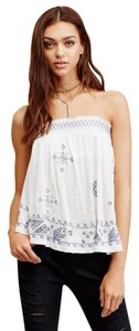 Free People Bandeau Embroidered Elastic Flowy Top ivory