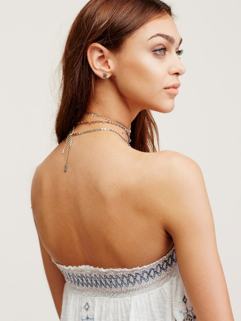 Free People Bandeau Embroidered Elastic Flowy Top ivory Image 10