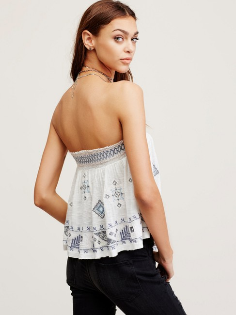 Free People Bandeau Embroidered Elastic Flowy Top ivory Image 8