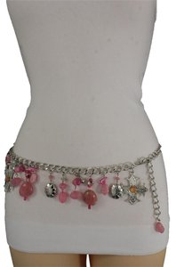 Alwaystyle4you Women Belt Hip Waist Silver Metal Chains Pink Charms Cross Beads