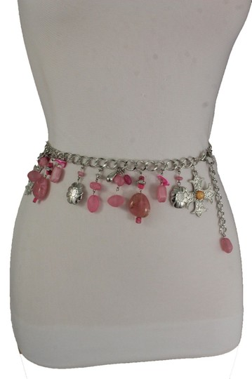 Alwaystyle4you Women Belt Hip Waist Silver Metal Chains Pink Charms Cross Beads Image 3