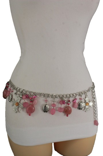 Alwaystyle4you Women Belt Hip Waist Silver Metal Chains Pink Charms Cross Beads Image 4