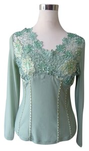Renato Nucci Sequins Pearls Top Green