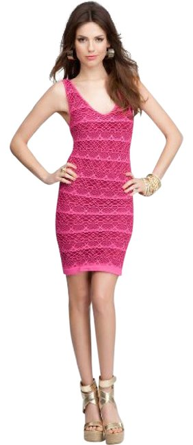 Preload https://img-static.tradesy.com/item/21643311/bebe-fushia-pink-lace-stripe-short-casual-dress-size-4-s-0-1-650-650.jpg