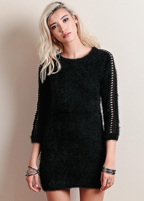 For Love & Lemons short dress Black Tunic Sweater Cocktail Cozy on Tradesy Image 5