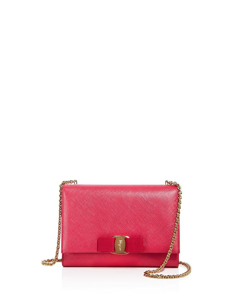 Salvatore Ferragamo  miss Vara  Bow Mini Pink Red Leather Cross Body ... 2c7bdcb952603