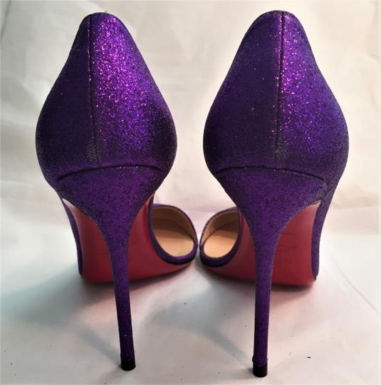 Christian Louboutin Pigalle Black Thigh High Spikes Studs Glitter Purple Pumps Image 7
