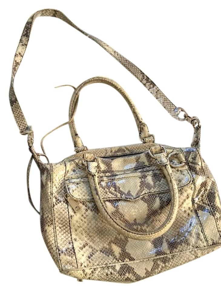 849eb57ce798 Rebecca Minkoff Python Leather Shoulder Strap Mab Mini Snake Satchel in  cream