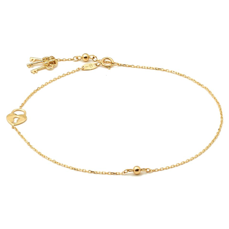 product anklet solid figaro gold bracelet link good charm yellow luck