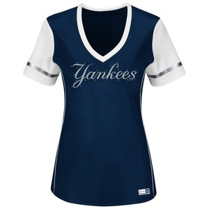 Majestic MLB Yankees Rhinestones T Shirt Navy blue and white