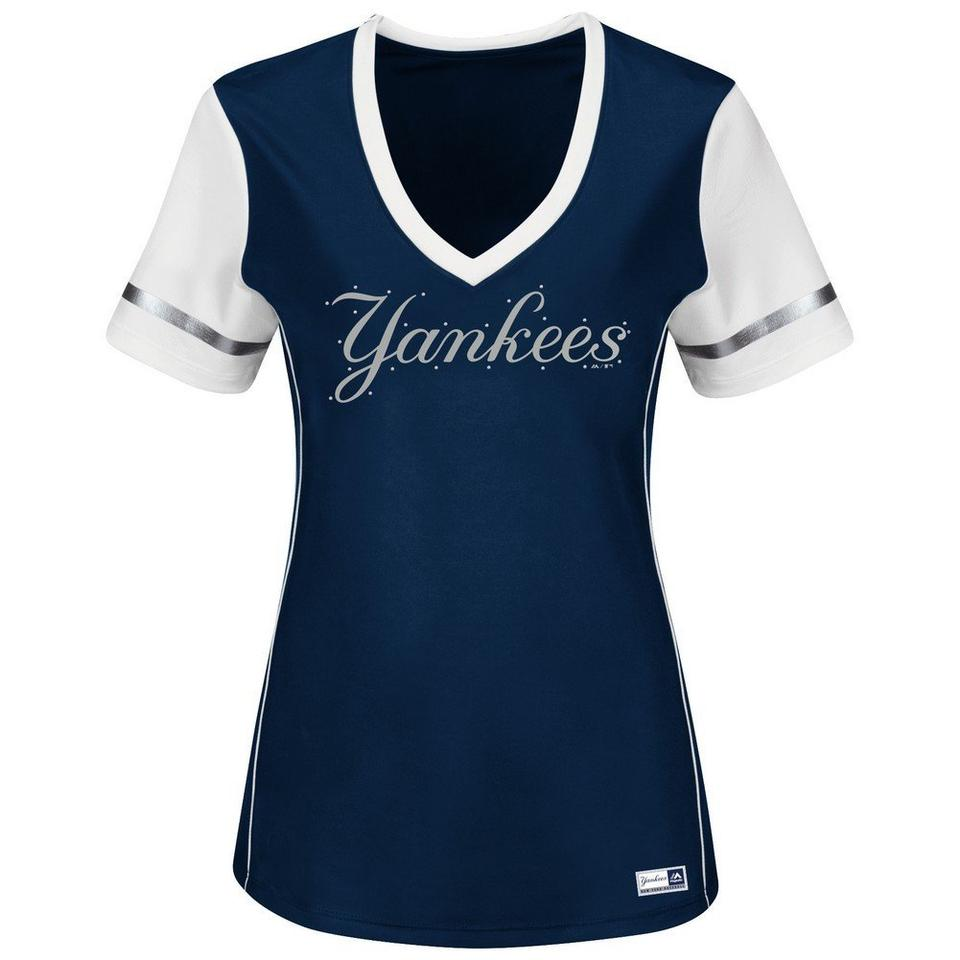 Majestic MLB Navy Blue and White New York Yankees Women s Deep V-neck T-shirt  Tee Shirt a6d0e1f10f1