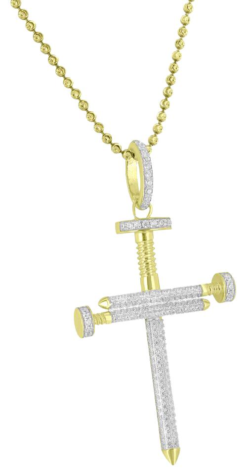 Master Of Bling Yellow Custom Nail Design Cross Pendant Sterling 925 ...